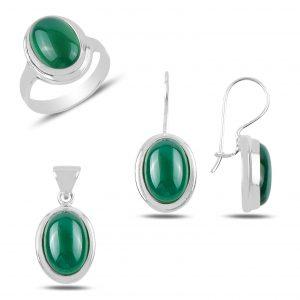 Yeşil Akik Taşlı El İşi Gümüş Takı Seti, El İşi Doğal Taşlı Setler Doğal Taş 925 ayar gümüştür.