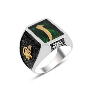 Yeşil Mineli Elif & Tuğra Gümüş Erkek Yüzük, Otantik Erkek Yüzükleri  925 ayar gümüştür.