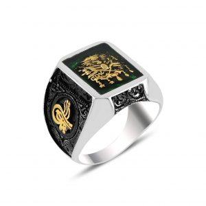 Yeşil Mineli Osmanlı Devlet Arması & Tuğra Gümüş Erkek Yüzük, Otantik Erkek Yüzükleri  925 ayar gümüştür.