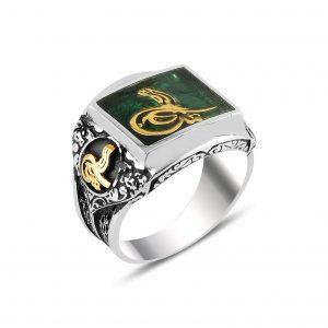 Yeşil Mineli Tuğra Gümüş Erkek Yüzük, Otantik Erkek Yüzükleri  925 ayar gümüştür.
