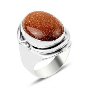 Yıldız Taşlı El İşi Gümüş Yüzük, Doğal Taşlı Bayan Yüzükleri Doğal Taş 925 ayar gümüştür.