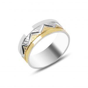 Zikzak Desenli Gümüş Alyans, Sade Alyanslar Rodyum Kaplama 925 ayar gümüştür.