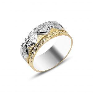 Zikzak Desenli Gümüş Alyans, İkili Alyanslar Rodyum Kaplama 925 ayar gümüştür.