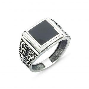 Zirkon Taş & Polyesterli Gümüş Erkek Yüzük, Zirkon Taşlı Erkek Yüzükleri  925 ayar gümüştür.