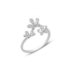 Zirkon Taşlı Çiçek Ayarlanabilir Boylu Gümüş Yüzük, Zirkon Taşlı Bayan Yüzükleri Rodyum Kaplama 925 ayar gümüştür.