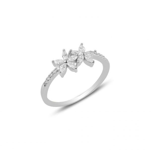 Zirkon Taşlı Çiçek Gümüş Yüzük, Zirkon Taşlı Bayan Yüzükleri Rodyum Kaplama 925 ayar gümüştür.