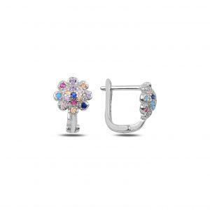 Zirkon Taşlı Çiçek J Gümüş Çocuk Küpesi, Zirkon Taşlı Küpeler Rodyum Kaplama 925 ayar gümüştür.