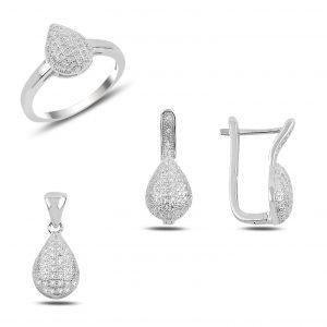 Zirkon Taşlı Damla Gümüş Takı Seti, Zirkon Taşlı Setler Rodyum Kaplama 925 ayar gümüştür.