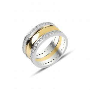 Zirkon Taşlı Gümüş Alyans, İkili Alyanslar Rodyum Kaplama 925 ayar gümüştür.
