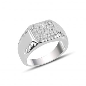 Zirkon Taşlı Gümüş Erkek Yüzük, Zirkon Taşlı Erkek Yüzükleri Rodyum Kaplama 925 ayar gümüştür.
