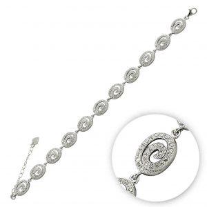 Zirkon Taşlı Gümüş Kadın Bileklik, Zirkon Taşlı Bileklikler  925 ayar gümüştür.