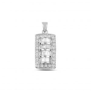 Zirkon Taşlı Gümüş Kolye Ucu, Zirkon Taşlı Kolye Uçları Rodyum Kaplama 925 ayar gümüştür.