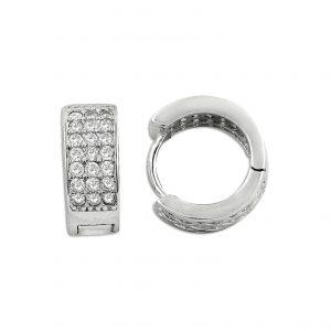 Zirkon Taşlı Halka Gümüş Küpe, Zirkon Taşlı Küpeler Rodyum Kaplama 925 ayar gümüştür.