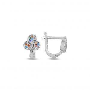 Zirkon Taşlı J Gümüş Çocuk Küpesi, Zirkon Taşlı Küpeler Rodyum Kaplama 925 ayar gümüştür.
