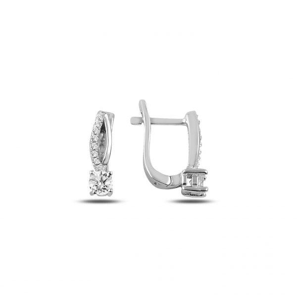 Zirkon Taşlı J Gümüş Küpe, Zirkon Taşlı Küpeler Rodyum Kaplama 925 ayar gümüştür.