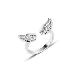 Zirkon Taşlı Kanat Çocuk Gümüş Çocuk Yüzüğü, Zirkon Taşlı Bayan Yüzükleri Rodyum Kaplama 925 ayar gümüştür.
