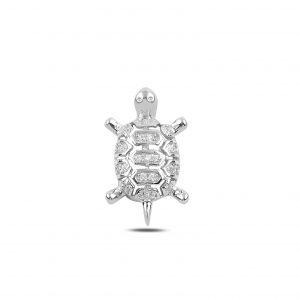 Zirkon Taşlı Kaplumbağa Gümüş Kolye Ucu, Zirkon Taşlı Kolye Uçları Rodyum Kaplama 925 ayar gümüştür.