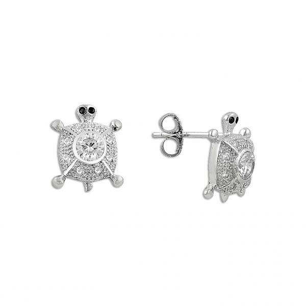 Zirkon Taşlı Kaplumbağa Gümüş Küpe, Zirkon Taşlı Küpeler  925 ayar gümüştür.