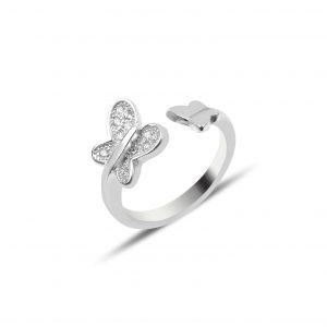 Zirkon Taşlı Kelebek Gümüş Çocuk Yüzüğü, Zirkon Taşlı Bayan Yüzükleri Rodyum Kaplama 925 ayar gümüştür.