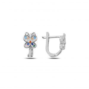 Zirkon Taşlı Kelebek J Gümüş Çocuk Küpesi, Zirkon Taşlı Küpeler Rodyum Kaplama 925 ayar gümüştür.