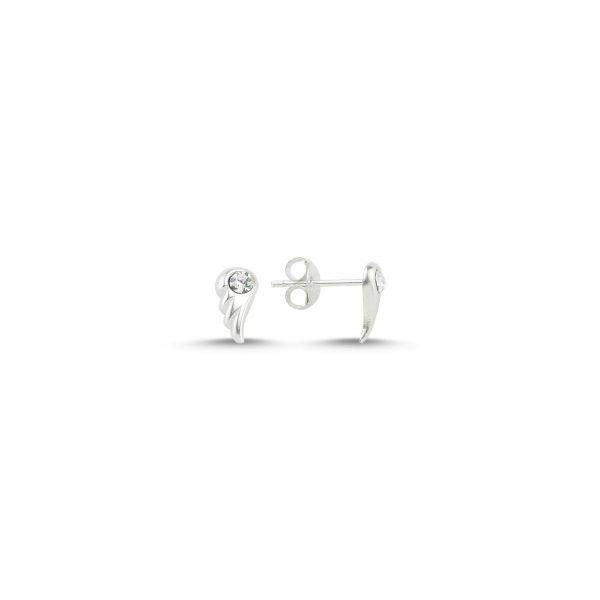 Zirkon Taşlı Minik Kanat Gümüş Küpe, Zirkon Taşlı Küpeler  925 ayar gümüştür.
