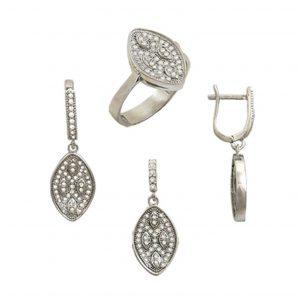 Zirkon Taşlı Oval Şekilli Gümüş Takı Seti, Zirkon Taşlı Setler  925 ayar gümüştür.