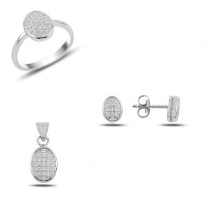 Zirkon Taşlı Oval Gümüş Takı Seti, Zirkon Taşlı Setler Rodyum Kaplama 925 ayar gümüştür.