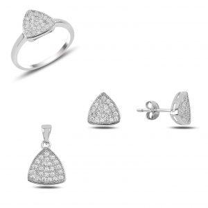 Zirkon Taşlı Reuleaux Üçgeni Gümüş Takı Seti, Zirkon Taşlı Setler Rodyum Kaplama 925 ayar gümüştür.
