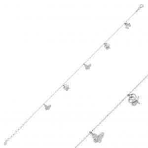 Zirkon Taşlı Sallantılı Gümüş Halhal, Halhallar Rodyum Kaplama 925 ayar gümüştür.