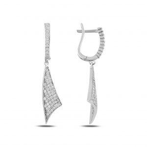 Zirkon Taşlı Sallantılı Gümüş Küpe, Zirkon Taşlı Küpeler Rodyum Kaplama 925 ayar gümüştür.