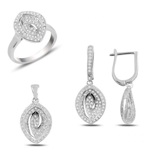 Zirkon Taşlı Sallantılı Gümüş Takı Seti, Zirkon Taşlı Setler Rodyum Kaplama 925 ayar gümüştür.