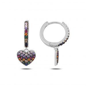 Zirkon Taşlı Sallantılı Kalp Halka Gümüş Küpe, Zirkon Taşlı Küpeler Rodyum Kaplama 925 ayar gümüştür.