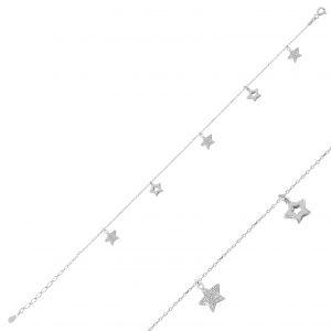 Zirkon Taşlı Sallantılı Yıldız Gümüş Halhal, Halhallar Rodyum Kaplama 925 ayar gümüştür.