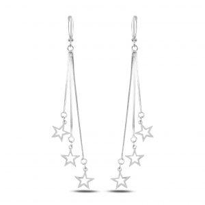 Zirkon Taşlı Sallantılı Yıldız J Gümüş Küpe, Zirkon Taşlı Küpeler Rodyum Kaplama 925 ayar gümüştür.