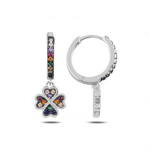 Zirkon Taşlı Sallantılı Yonca Halka Gümüş Küpe, Zirkon Taşlı Küpeler Rodyum Kaplama 925 ayar gümüştür.
