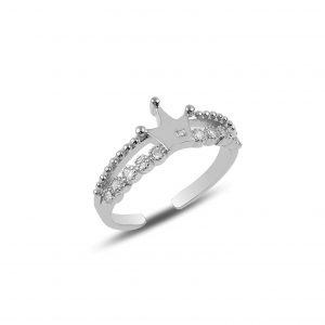 Zirkon Taşlı Taç Ayarlanabilir Boylu Gümüş Yüzük, Zirkon Taşlı Bayan Yüzükleri Rodyum Kaplama 925 ayar gümüştür.