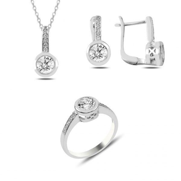 Zirkon Taşlı Tektaş Gümüş Takı Seti, Zirkon Taşlı Setler Rodyum Kaplama 925 ayar gümüştür.
