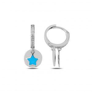 Zirkon Taşlı ve Mineli Yıldız Sallantılı Gümüş Küpe, Zirkon Taşlı Küpeler Rodyum Kaplama 925 ayar gümüştür.