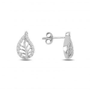 Zirkon Taşlı Yaprak Gümüş Küpe, Zirkon Taşlı Küpeler Rodyum Kaplama 925 ayar gümüştür.