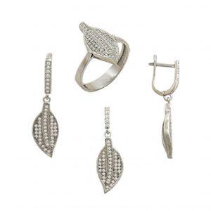 Zirkon Taşlı Yaprak Gümüş Takı Seti, Zirkon Taşlı Setler  925 ayar gümüştür.