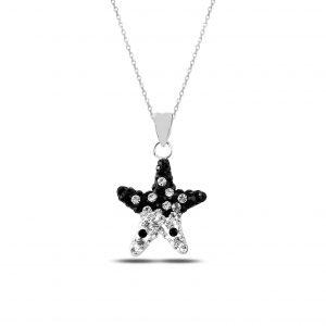 Zirkon Taşlı Yıldız Gümüş Kolye, Hayalet Kolyeler  925 ayar gümüştür.