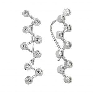 Zirkon Taşlı Zikzak Ear Cuff Gümüş Küpe, Zirkon Taşlı Küpeler  925 ayar gümüştür.