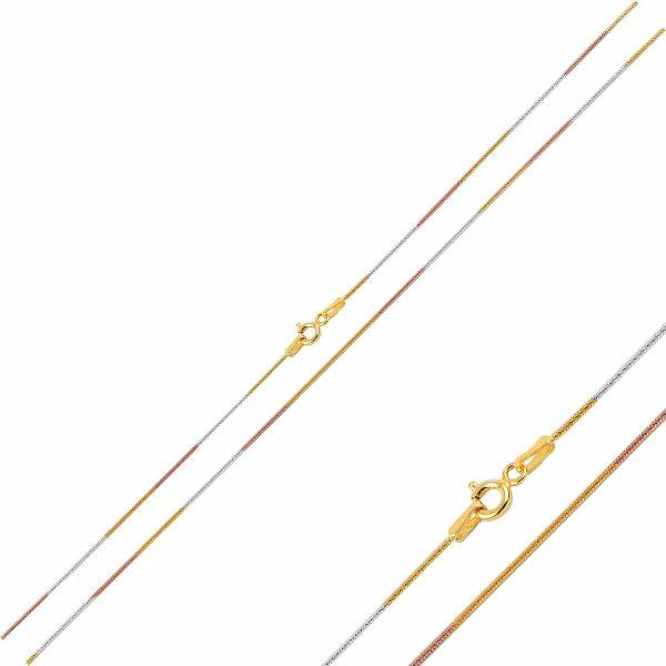 Üç Renk Yılan Zincir Gümüş Kolye, Zincir Rodyum Kaplama Zincir 925 Ayar Gümüştür.