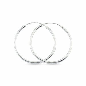 25mm Sade Halka Gümüş Küpe, Küpe 925 Ayar Gümüştür.