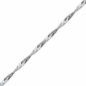 30 Mikron Singapur (Twist) Zincir Gümüş Kolye, Zincir Zincir 925 Ayar Gümüştür.