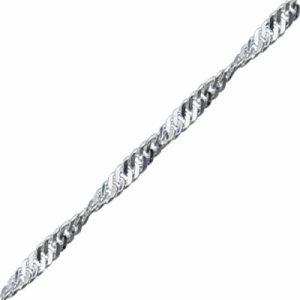 40 Mikron Singapur (Twist) Zincir Gümüş Kolye, Zincir Zincir 925 Ayar Gümüştür.
