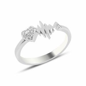 Kalp Ritmi Zirkon Taşlı Gümüş Yüzük, Yüzük Rodyum Kaplama 925 Ayar Gümüştür.