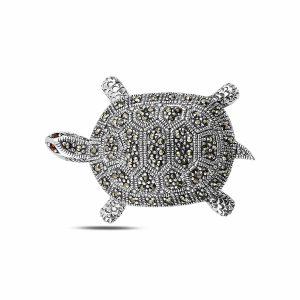 Kaplumbağa Markazit Taşlı Gümüş Broş & Kolye Ucu, Kolye Ucu 925 Ayar Gümüştür.