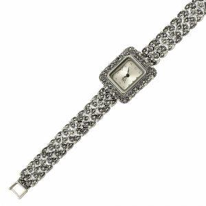 Kare Markazit Taşlı Gümüş Saat, Saat 925 Ayar Gümüştür.
