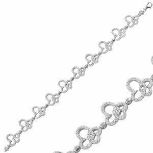 Kelebek & Kalp Zirkon Taşlı Gümüş Bileklik, Bileklik Rodyum Kaplama 925 Ayar Gümüştür.
